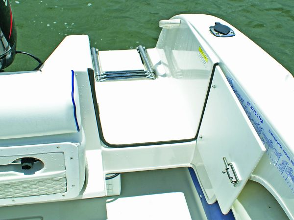 Access from the water is made easier via the transom door and fold-up ladder. & Access all areas